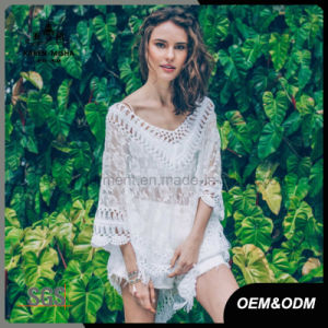 Design Lace Top with Crochet Collar Cuffs and Hem pictures & photos