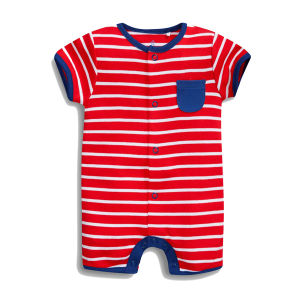 High Quality Dyeing Striped Romper Baby Suit pictures & photos