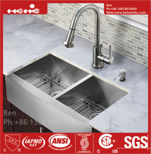 Stainless Steel Apron Front Farmhouse Equal Double Bowl Handmade Kitchen Sink with Cupc Certification pictures & photos