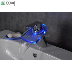 Brass Color Water Tap Mixer Bathroom LED Basin Faucet (QH0816F) pictures & photos
