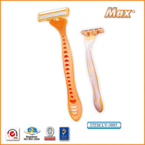 Triple Blade Stainless Steel Blade Disposable Shaving Razor (LV-3085) pictures & photos