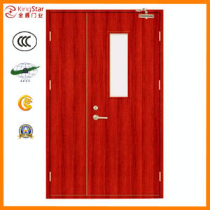 Wooden Fire Door with Steel Structure (A1.00-2 mother-son with glass)
