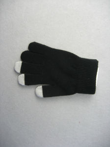 10g Black Polyester Liner Three Finger Touch Work Glove-T3107 pictures & photos