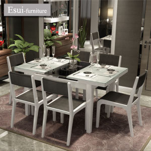 Modern Dining Table with Tempered Glass for Dining Romm Furniture (CZ020B#)