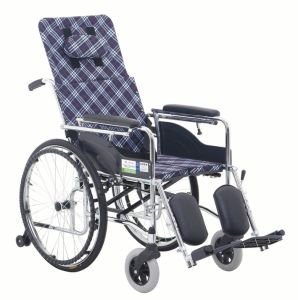 Hight Backrest Hard Cushion Chrome Steel Wheelchair