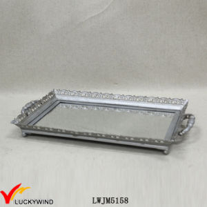 Antique Silver Metal Decorative Mirror Tray with Handle pictures & photos