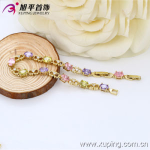 Xuping Fashion 14k Gold Color Luxury Zircon Bracelet (73712) pictures & photos