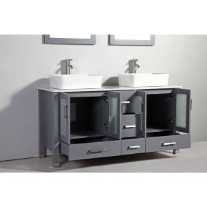Legion Furniture 48-Inch Gray Solid Wood Sink Vanity Set with Faucet and Mirror pictures & photos