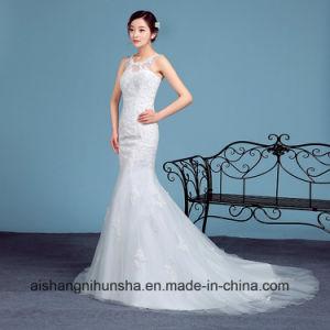 Elegant Mermaid Wedding Dress Sleeveless Robe with Lace pictures & photos