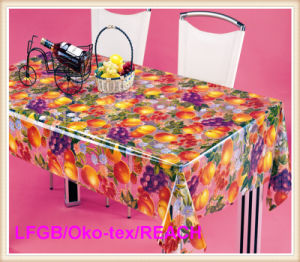 PVC Crystal Printed Transparent Tablecloth pictures & photos