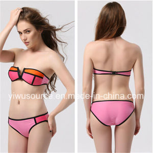 Sexy Multi Color Strapless Front Zipper Swimwears pictures & photos
