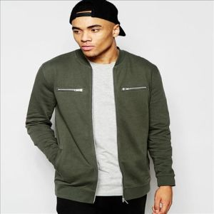 2016 Men′s Longline Jersey Bomber Jacket with Zips in Khaki pictures & photos