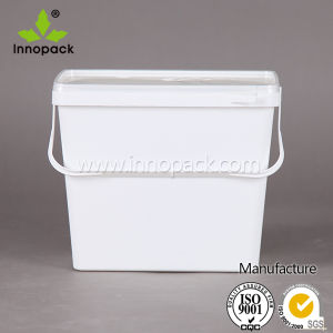 Manufacture Wholesale 3.7L Square Plastic Bucket with Lid and Handle for Food or Chemical Packing pictures & photos