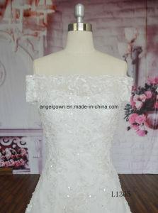 Long Train off Shoulder Lace Applique Abito Da Matrimonio Wedding Dress pictures & photos