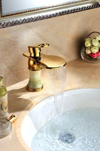 Golden Color Waterfall Faucet with Green Marble (SD-L-005B) pictures & photos