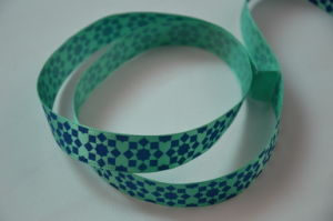 Blue Pattern Printed Green Ribbon for Festival Decorations