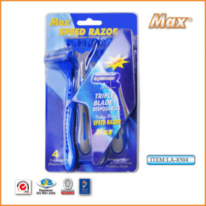Platinum Coated Stainless Steel Twin Blade Disposable Shaving Razor (LA-8504) pictures & photos