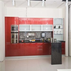Red High Gloss Modern Lacquer Kitchen Cabinets pictures & photos