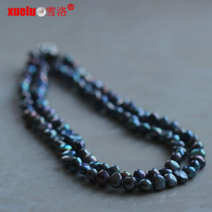 Double Black Baroque Freshwater Pearl Necklace (E130132) pictures & photos