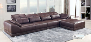 Coffee Color Modern Leather Sofa, Living Room Furniture (A-02) pictures & photos