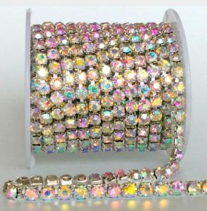Ss16 4mm Strass Brass Chain Diamante Rhinestone Cup Chain (TCG-ss16 /crystal ab) pictures & photos