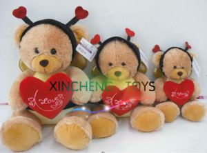 Nice Teddy Bees with Red Heart, Plush Bees