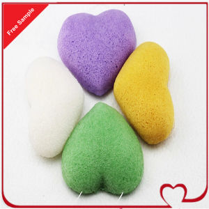 Heart Shape Natural Konjac Sponge for Face Cleaning pictures & photos