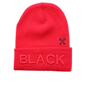 Red Puff Embroidery Winter Beanie Hats for Wholesales (GK16-Q0121) pictures & photos