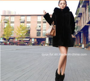 New Arrival Women Classic Black Hooded Faux Fox Fur Coat pictures & photos