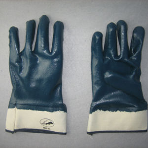 Jersey Liner Fully Coated Blue Nitrile Gloves for Chemical Industry-5016 pictures & photos
