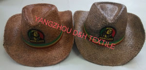 2018 Fashion Handmade Raffia Straw Hats with Woven Badge Logo pictures & photos