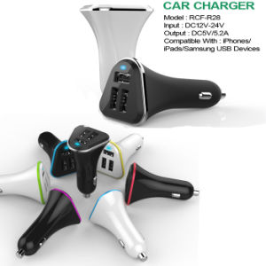 High Quality LED Light 3 Port USB Car Charger Factory OEM pictures & photos
