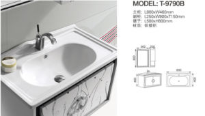 White Color Bathroom Vanity with Side Cabinet (T-9790B) pictures & photos