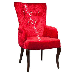 Crystal Button Dining Furniture Chair with Red Cloth (YC-F063) pictures & photos