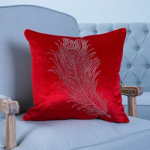 Diamond Ironing Decorative Cushion/Pillow with Feather Pattern (MX-028) pictures & photos