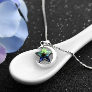 New Fashion Genuine 925 Sterling Silver Jewelry Crystal Star Moon Pendant Necklace for Women pictures & photos