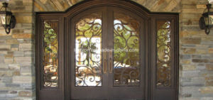 Super Quality Iron Entry Doors with Sidelites Front Door pictures & photos