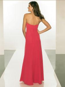 Strapless Hot Pink Chiffon Women Evening Dress pictures & photos