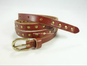 Skinny Fahion Women Leather Belt with Studs
