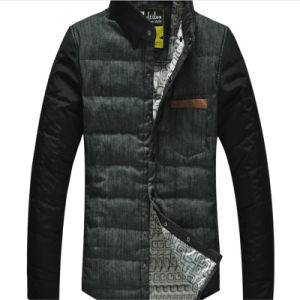 Men Leather Winter Dow Coat Jacket