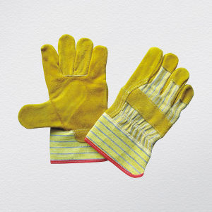 Gold Cow Split Leather Work Glove (3051) pictures & photos