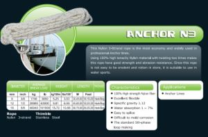 Various Sizes Anchor N3 Rope/Nylon Rope/Stainless Thimble Eye Rope pictures & photos