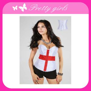 Sexy White Satin Bustier with Red Cross in The Front