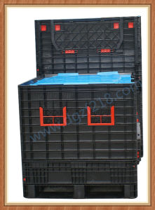 Large Eco-Friendly Plastic Folded Pallet Bin with Lid for Warehouse