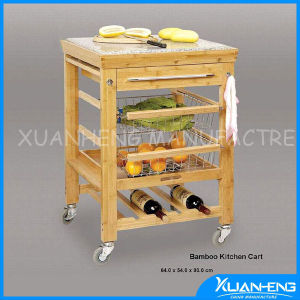 Eco-Friendly Bamboo Kitchen Trolley with Wine Rack and One Drawer pictures & photos