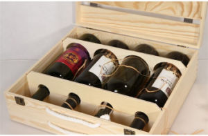 Top Quality Natural Pine Wood Wine Box for Four Bottles pictures & photos