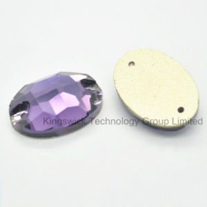 Oval Amethyst Color Sew on Rhinestone Crystal Flat Back Buttons pictures & photos
