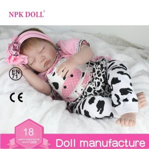 22 Inch 55cm Sleeping Silicone Reborn Baby Doll Realistic Baby Toy Gift for Girls Real Toys Christmas Gift Wholesale Doll Factory Close Eyes Doll Newborn Baby