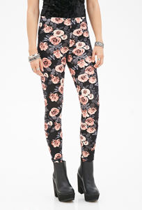 Floral Print Leggings with Elsaticzed Waist for OEM pictures & photos