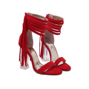 Lucite Ankle-Strap High Heels Sandals Suede with Tassel (HT-S1006) pictures & photos